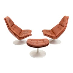 Set of Space Age Lounge Chairs and Footstool by G. Harcourt for Artifort, 1970s