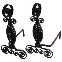 Set of Spanish Colonial Style Wrought Iron Andirons by Addison Mizner