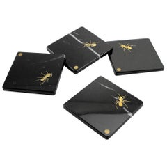 Set of Square Coasters in Marquina Marble with Brass Inlay by Pieruga Marble