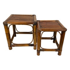 Stacking Bamboo Tables-Set of Two with Beveled Glass Tops