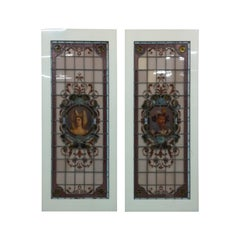 Set of Stained Glass, Hand Painted Panels