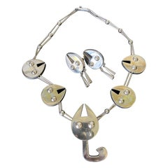 Set of Sterling Silver Necklace and Earrings Graziella Laffi