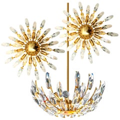 Set of Stilkronen Crystal and Gilded Brass Italian Light Fixtures, Stilkronen