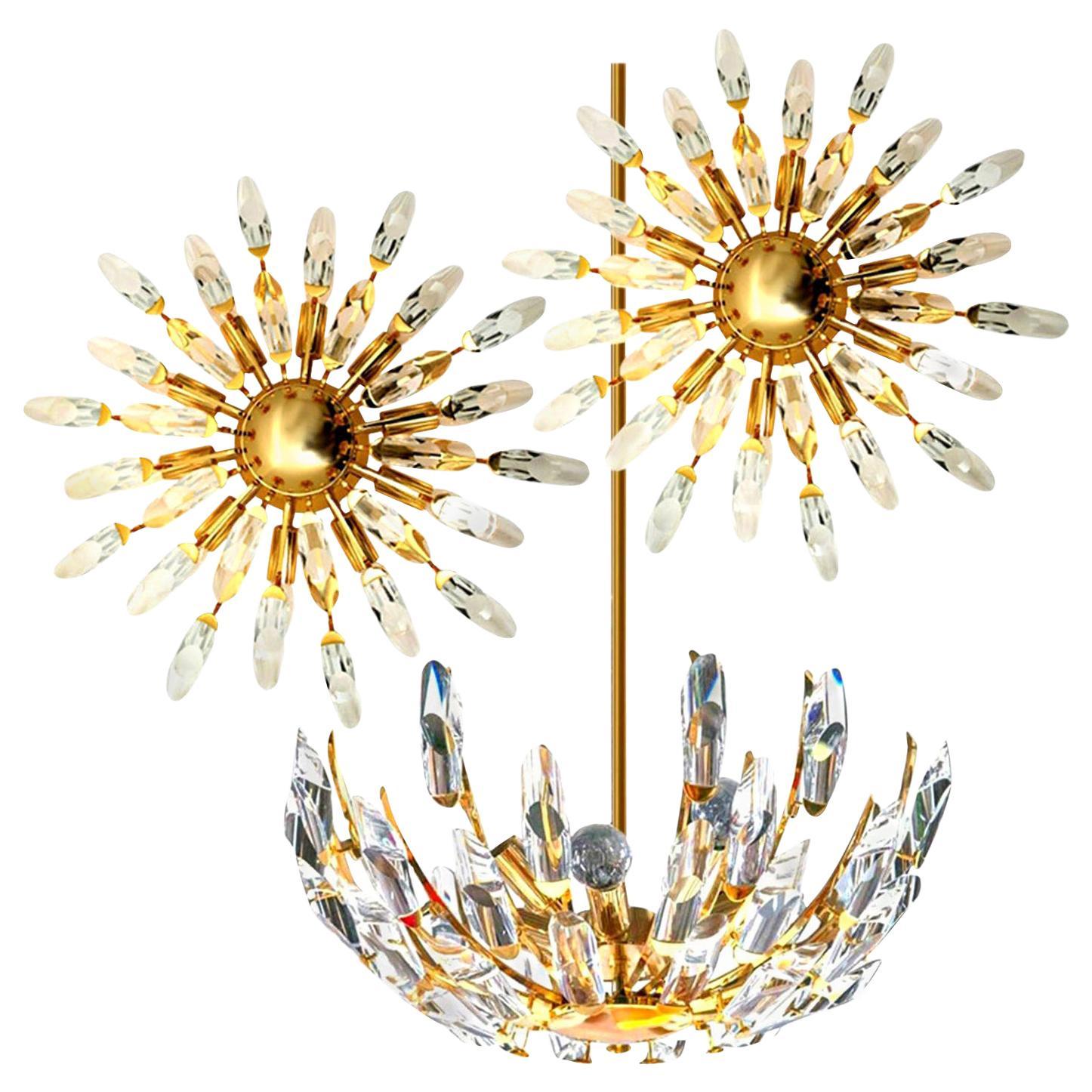 Set of Stilkronen Crystal and Gilded Brass Italian Light Fixtures, Stilkronen