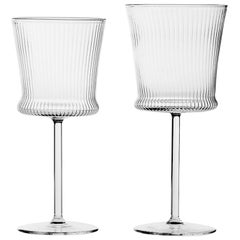 Set of Striped Wine and Water Stem Glasses for Six