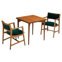 Set of Palle Suenson Side Table in Solid Teak with Edward Wormley Armchairs