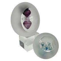 Set of Swedish Ahus Glass Paperweights, Signed Studio Åhus 1992 HD-AZ