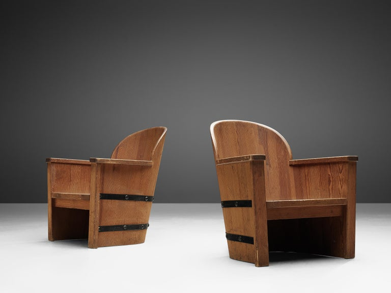 Set of Swedish Lounge Chairs in Pine In Good Condition For Sale In Waalwijk, NL