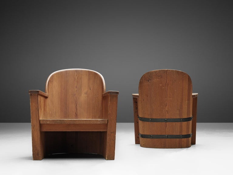 Iron Set of Swedish Lounge Chairs in Pine For Sale