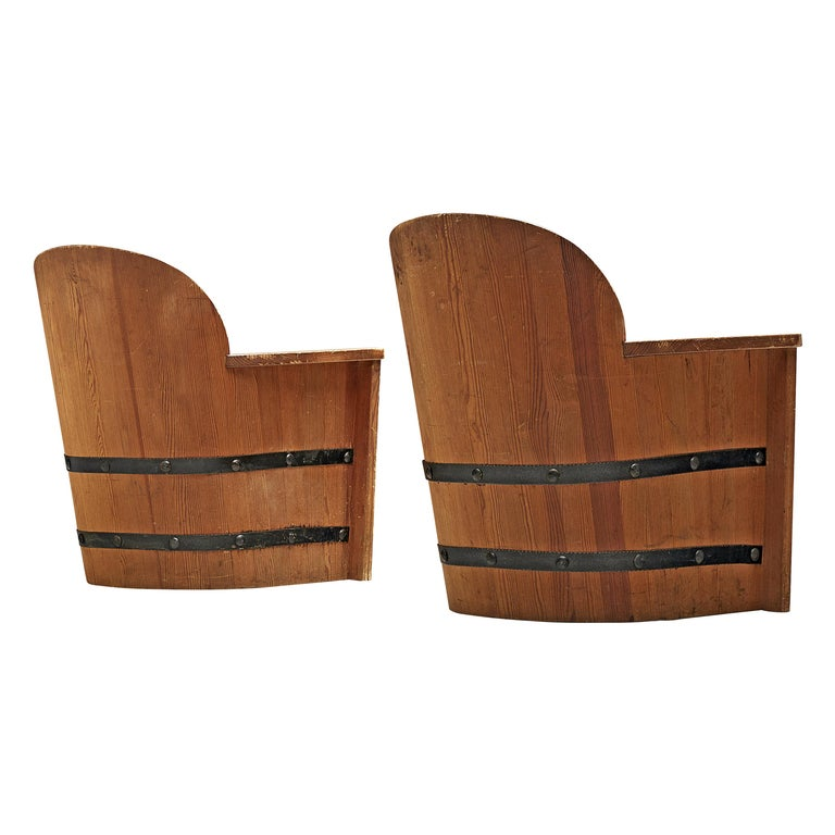 Set of Swedish Lounge Chairs in Pine For Sale
