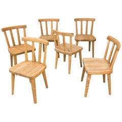 Set of Swedish Pine Wood Chairs, 'Uto' by Axel Einar Hjorth, 1930