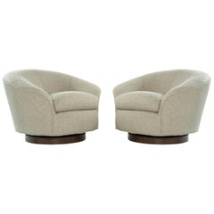 Set of Swivel Chairs in Bouclé by Directional, circa 1970s