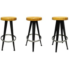 Set of Six Stools 1980s Production of a Jean Prouvé Design