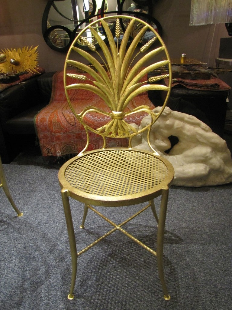 Gold Leaf Set of Table and Six Chairs by S. Salvadori, Firenze, circa 1960 For Sale