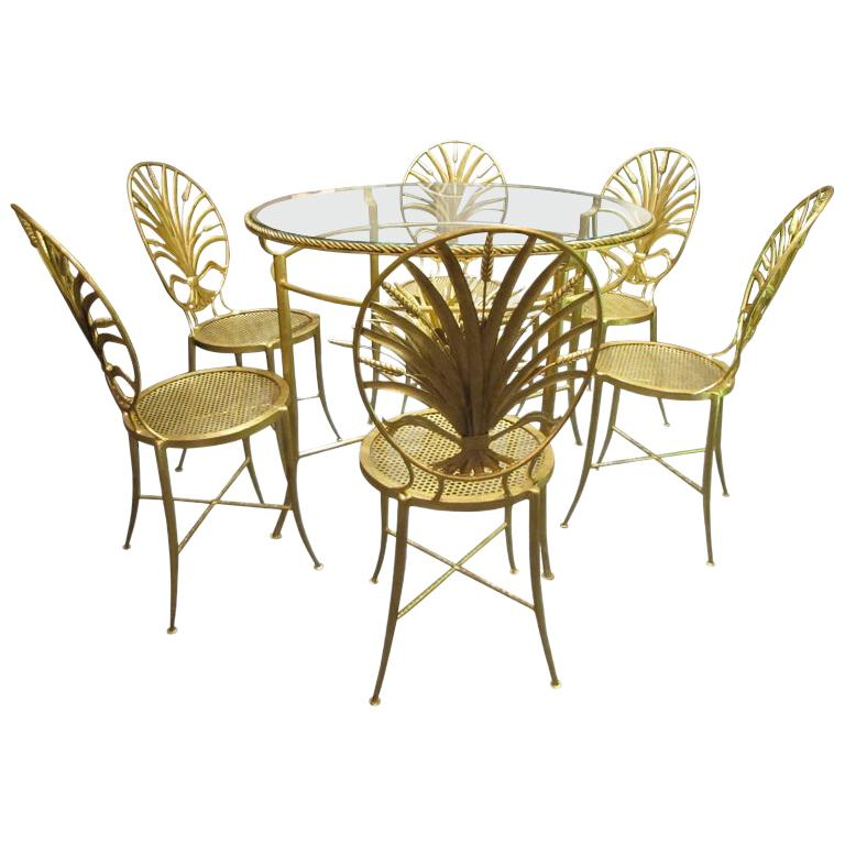 Set of Table and Six Chairs by S. Salvadori, Firenze, circa 1960 For Sale
