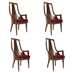Set of Tall Back Walnut Dining Armchairs