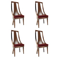 Set of Tall Back Walnut Dining Side Chairs