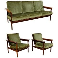 Set of Teak Wood Three-Seat Sofa and Two Easy Chairs, circa 1960