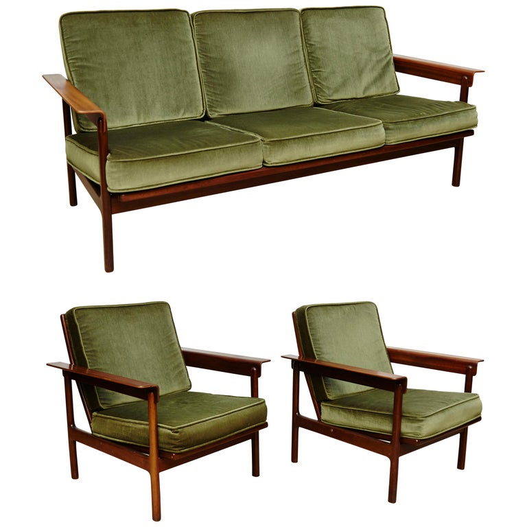Set of Teak Wood Three-Seat Sofa and Two Easy Chairs, circa 1960 For Sale