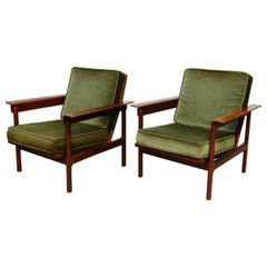 Set of Teak Wood Two Easy Chairs, circa 1960