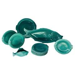 Set of Teal Fish-Shape Ceramic Dishes