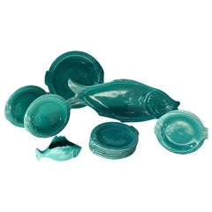 Set of Teal Fish-Shape Ceramic Dishes
