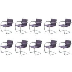 Set of Ten 10 Modern Knoll Chrome Brno Chairs Ludwig Mies van der Rohe