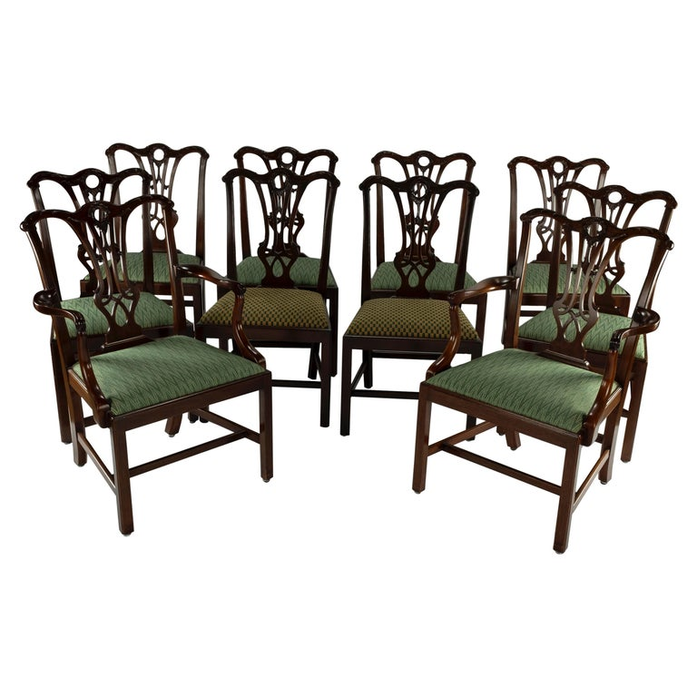 Set of Ten 18th Century Mahogany Dining Chairs For Sale