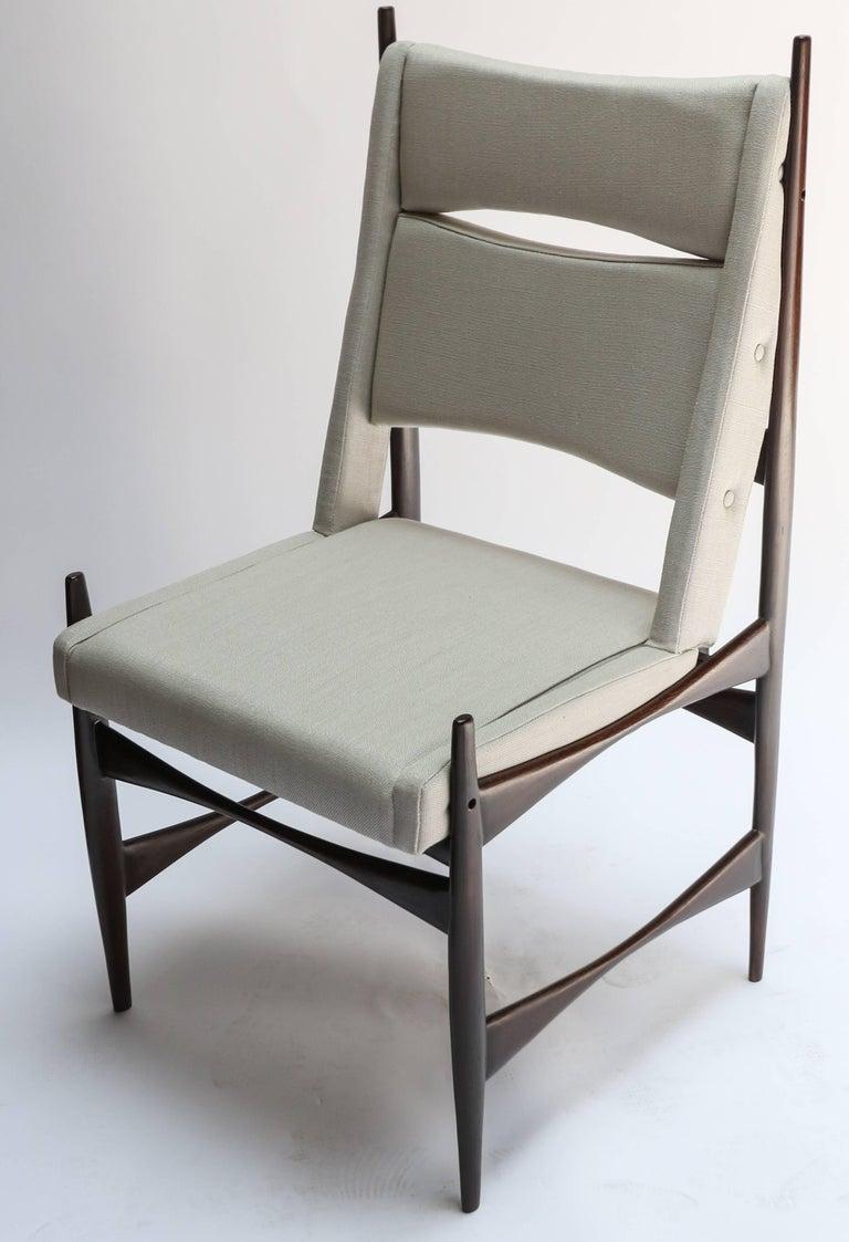 Wood Set of Ten Midcentury Brazilian Dining Chairs in Beige Linen