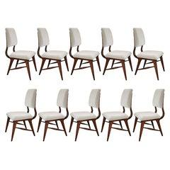 Set of Ten 1970s Brazilian Dining Chairs in Grey Velvet