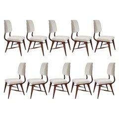 Set of Ten 1970s Brazilian Wood Dining Chairs in Grey Velvet