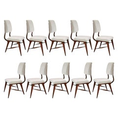 Set of Ten 1970s Brazilian Wood Dining Chairs in Grey Velvet