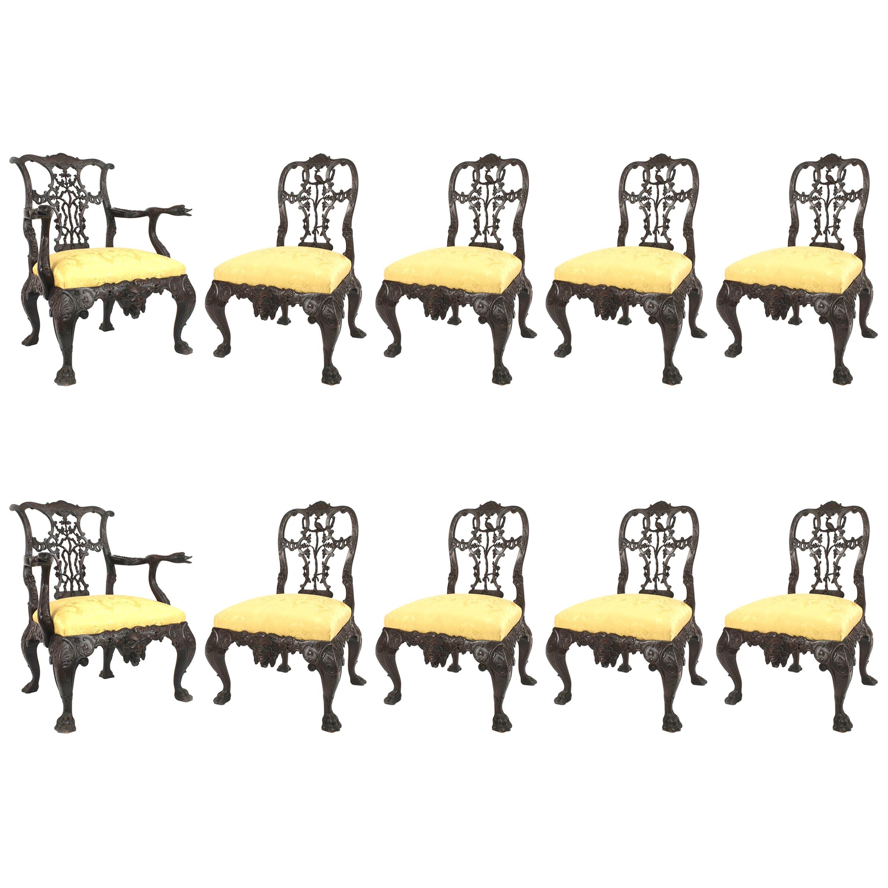 Set of 10 English Chippendale Mahogany Ribbon Chair