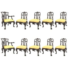 Set of Ten 19th Century Chippendale Style Mahogany Chairs