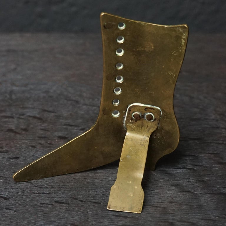 Set of Ten 19th Century English Victorian Brass Chimney Good Luck Shoes or Boots For Sale 5