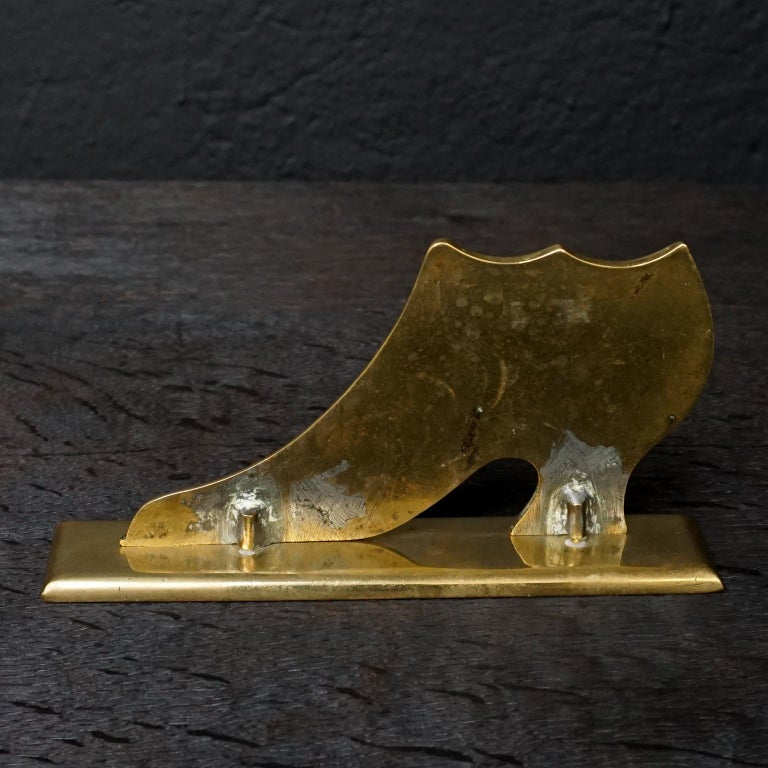 Set of Ten 19th Century English Victorian Brass Chimney Good Luck Shoes or Boots For Sale 15