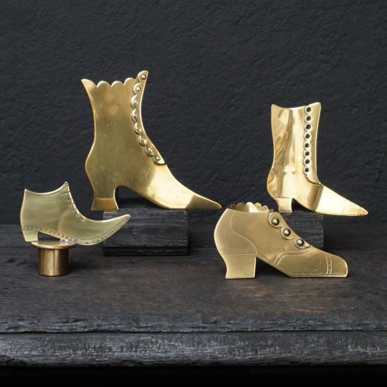 Mid-19th Century Set of Ten 19th Century English Victorian Brass Chimney Good Luck Shoes or Boots For Sale