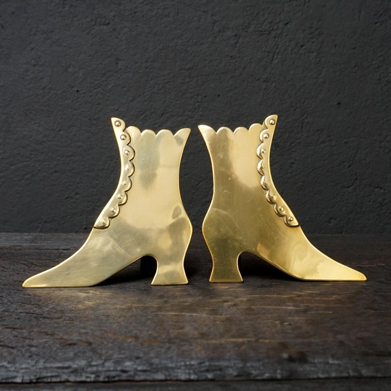 Set of Ten 19th Century English Victorian Brass Chimney Good Luck Shoes or Boots For Sale 1