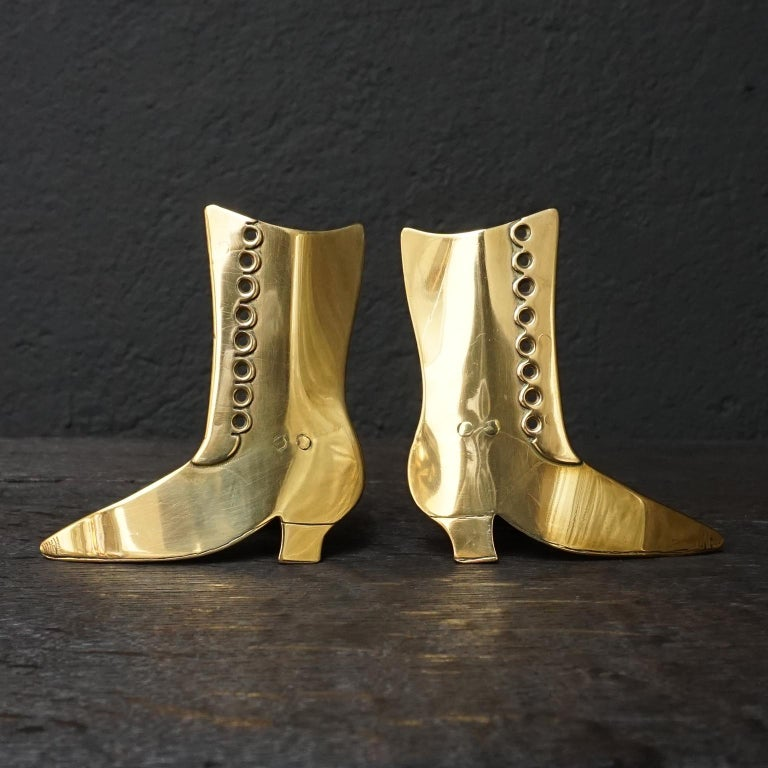 Set of Ten 19th Century English Victorian Brass Chimney Good Luck Shoes or Boots For Sale 4