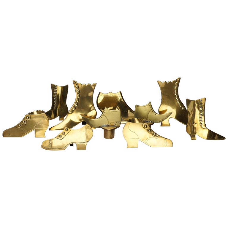 Set of Ten 19th Century English Victorian Brass Chimney Good Luck Shoes or Boots For Sale