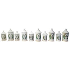Set of Ten 19th Century French Porcelain Apothecary Jars