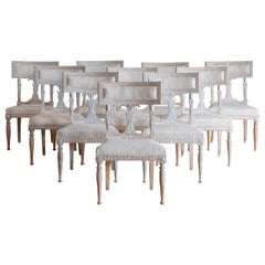 Exceptional Set of Ten 19th Century Gustavian Dinning Chairs