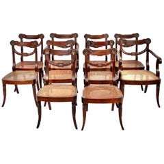 Set of Ten 19th Century Regency Mahogany Dining Chairs