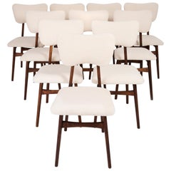 Set of Ten 20th Century Light Crème Boucle Chairs, 1960s