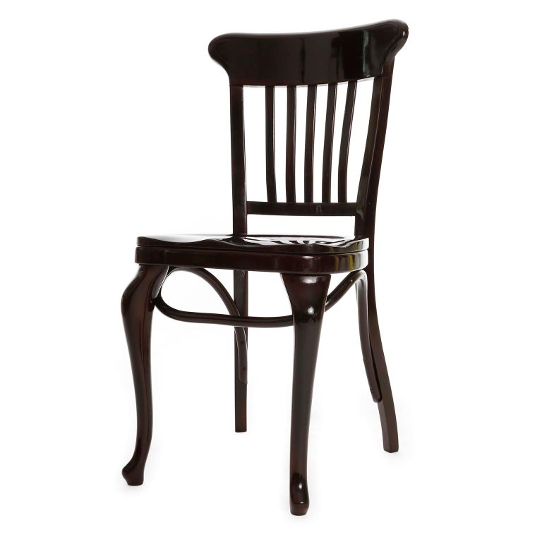 A set of ten fantastic and extremely rare Adolf Loos chairs manufactured by Thonet. Adolf Loos adopted this chair model inspired by 18th century Windsor chairs and used it for the Cafe Capua which interior was designed by him in 1913. The Cafe