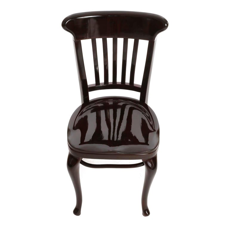 Polished Set of Ten Adolf Loos Chairs Cafe Capua Vienna, Austria, Thonet, 1913 For Sale