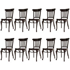 Set of Ten Adolf Loos Chairs Cafe Capua Vienna, Austria, Thonet, 1913