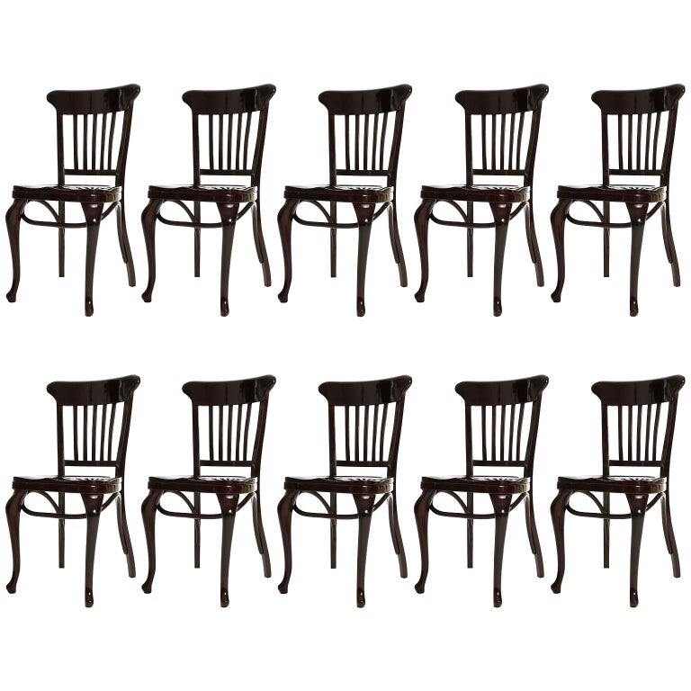 Set of Ten Adolf Loos Chairs Cafe Capua Vienna, Austria, Thonet, 1913 For Sale