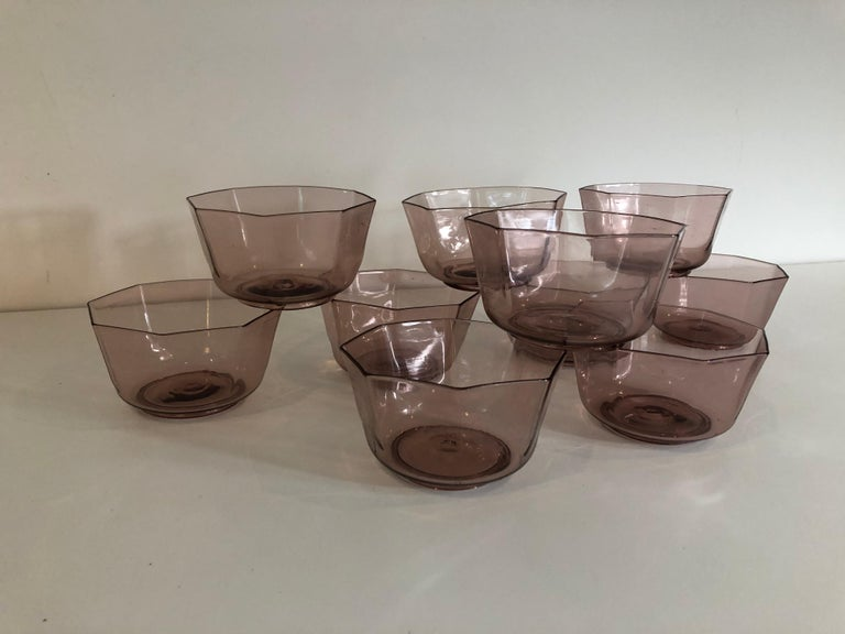 Art Deco Set of Ten Amber Venetian Glass Bowls or Cups For Sale