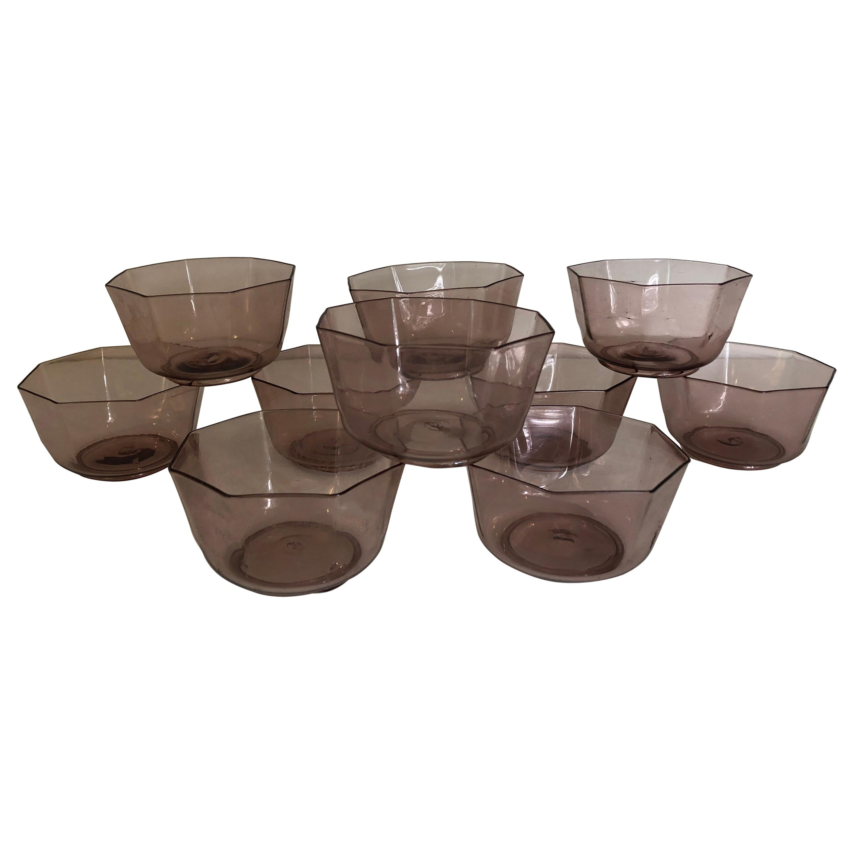 Set of Ten Amber Venetian Glass Bowls or Cups